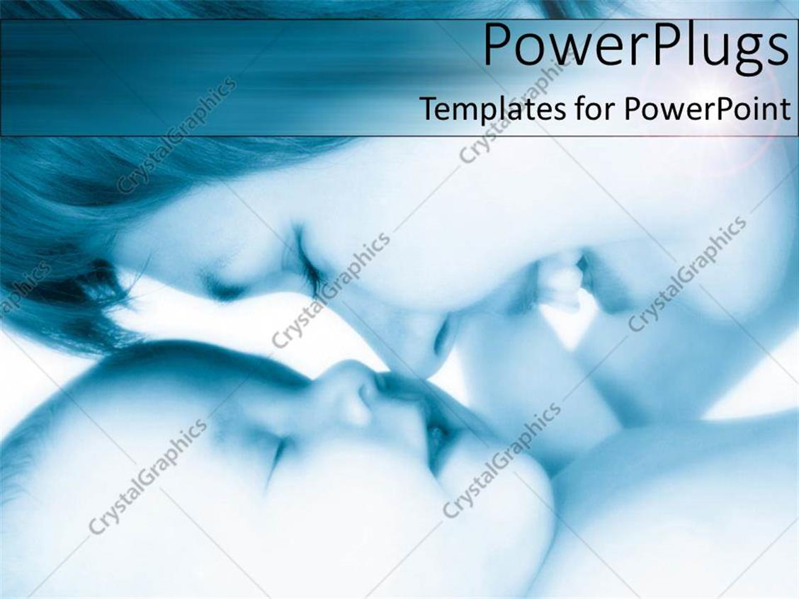 PowerPoint Template Displaying Happy Mother Smiles as she Kisses her Baby