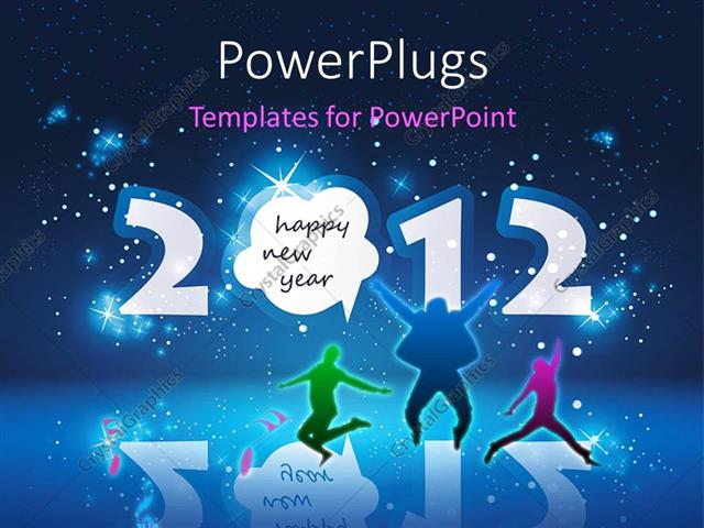 Powerpoint Template Happy New Year Celebration With People Dancing