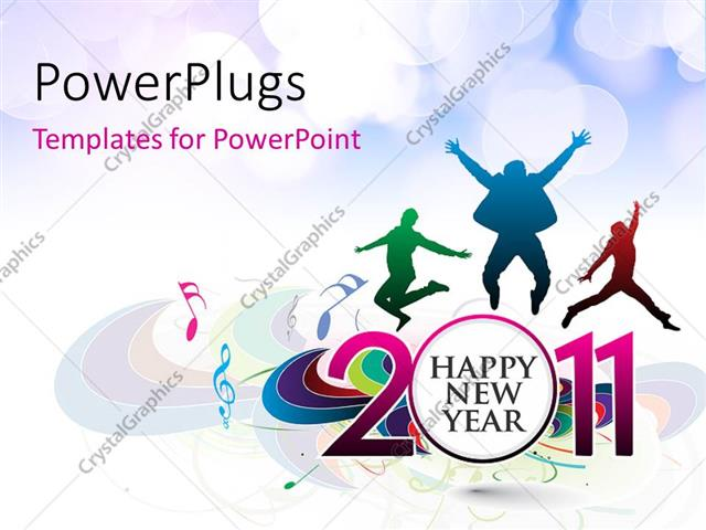 Powerpoint Template Happy New Year Celebration With People Jumping