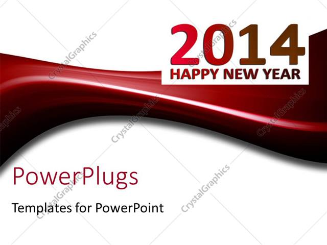 powerpoint template displaying happy new year depiction with new year text on white background