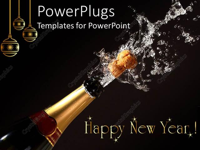 powerpoint template displaying happy new year theme with champagne bottle opening gold christmas ornaments