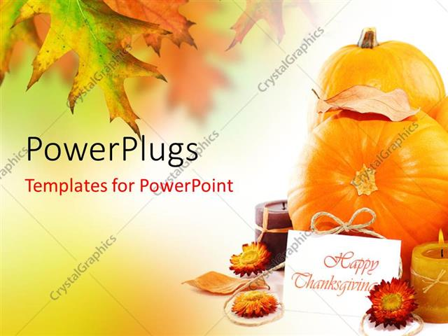 powerpoint template happy thanksgiving card with fruits and flowers