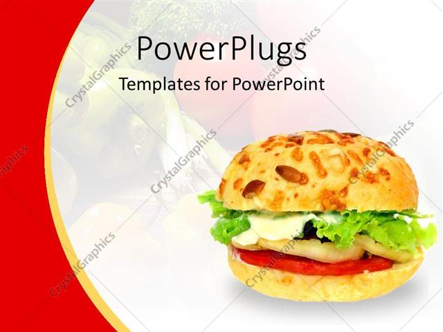 Powerpoint Template Healthy Vegetable Burger On A White And Red