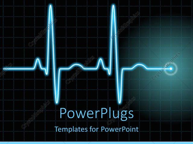 PowerPoint Template Displaying a Heartbeat Line with Boxes in the Background and Place for Text