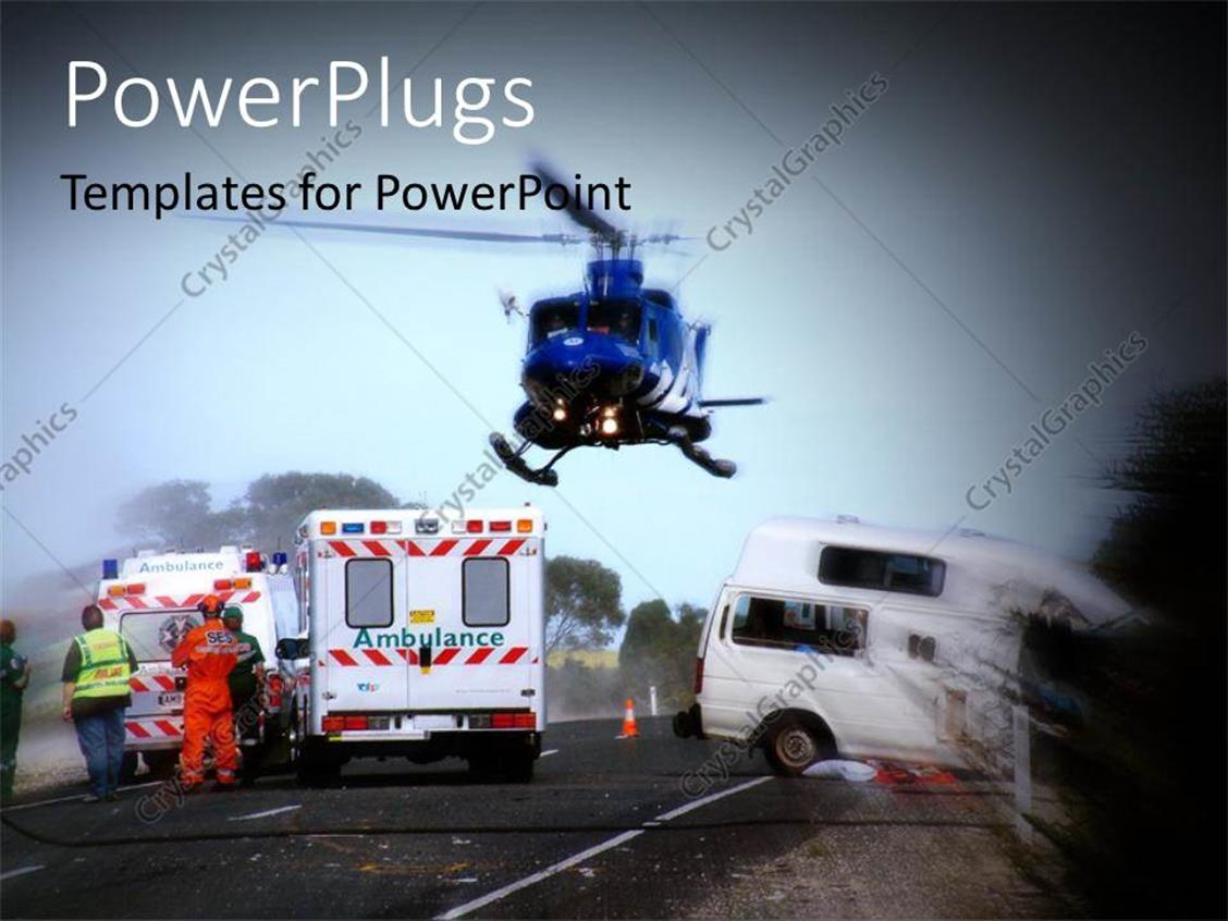 PowerPoint Template Displaying a Helicopter Hovering Round Three Ambulances in a Scene
