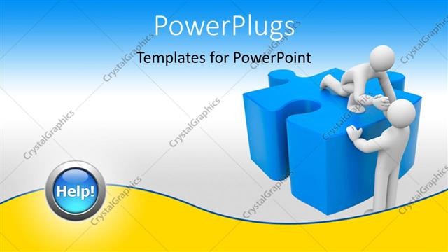 PowerPoint Template Displaying 3D Man Offers Helping Hand to Friend on Blue Puzzle Piece