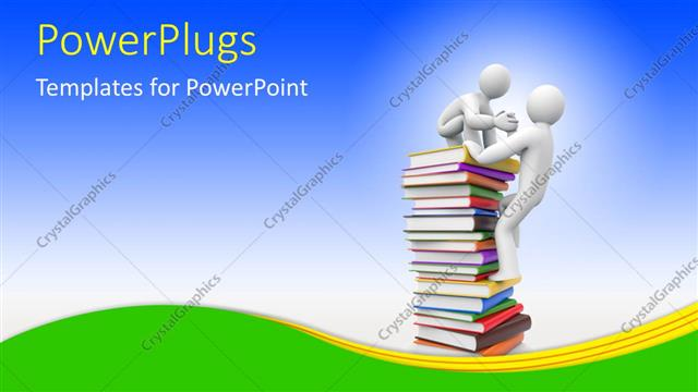 PowerPoint Template Displaying Two 3D Characters Climbing Up a Stack of Books