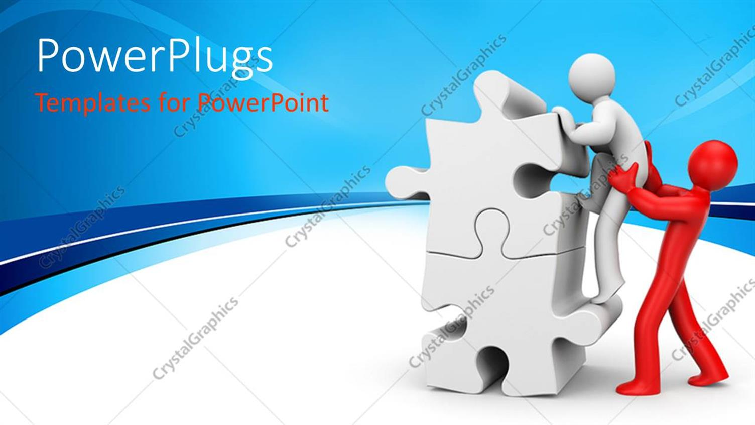 PowerPoint Template Displaying 3D Man Renders Helping Hand to Mate Climbing Puzzle