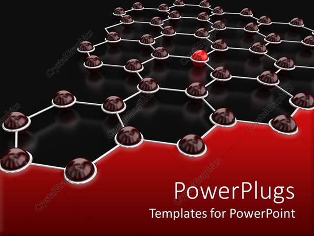 PowerPoint Template Displaying Hexagons Connected to Each other with One Red Lighting Button Depicting Network and Communication Concept