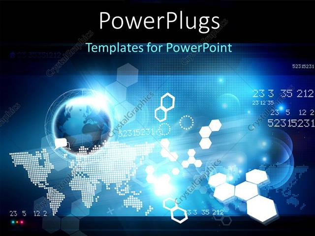 Powerpoint template hi tech digital background with globe world powerpoint template displaying hi tech digital background with globe world map and shapes toneelgroepblik Choice Image