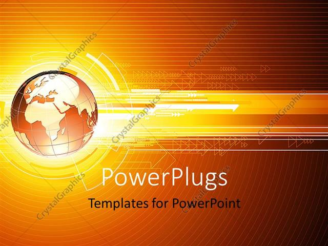 Powerpoint template hi tech theme with globe and network arrows powerpoint template displaying hi tech theme with globe and network arrows over colored background toneelgroepblik Image collections