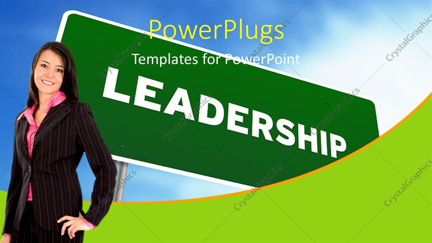 PowerPoint Template Displaying Young Business Woman Stands with Leadership Signpost in Background