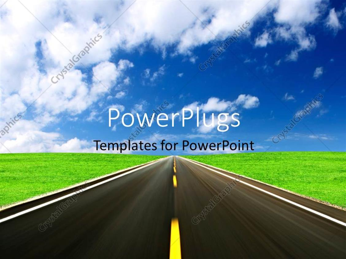 powerpoint template  highway in green field with blue