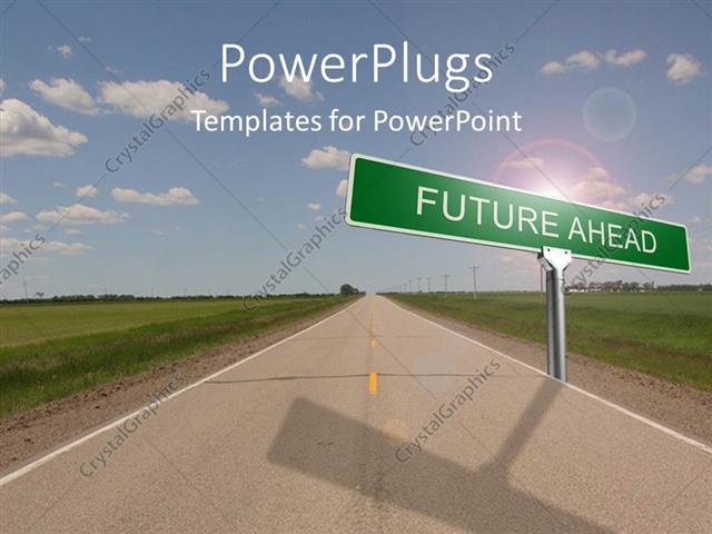 Powerpoint template highway with green road sign reading future powerpoint template displaying highway with green road sign reading future ahead with cloudy sky toneelgroepblik Choice Image