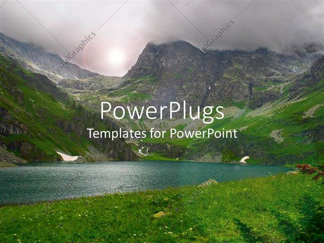 PowerPoint Template Displaying Hill Station, Lake, Mountains with Full Greenery all Around