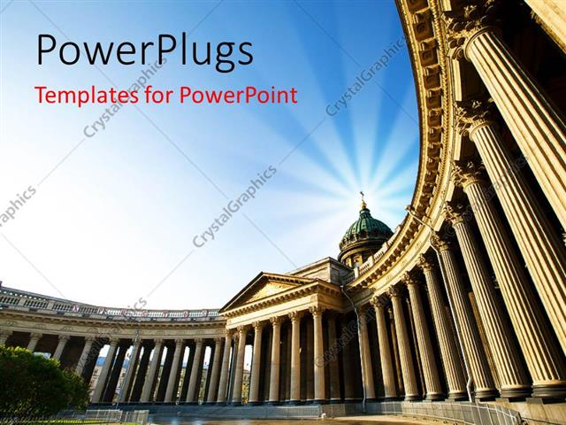 Powerpoint Template A Historical Building With A Bluish Background