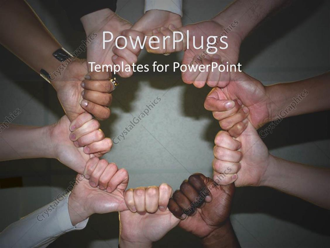 PowerPoint Template Displaying Holding Hands Together Embracing Diversity Black and White Globalization Together