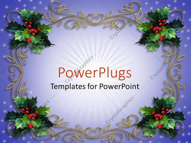 Powerpoint Template Holiday Decorations Mistletoe Design Christmas