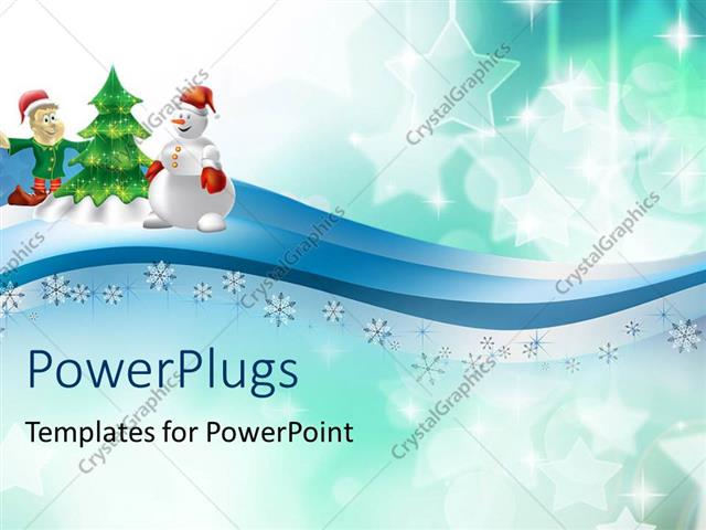 Powerpoint Template Holiday Depiction With Decorated Christmas Tree