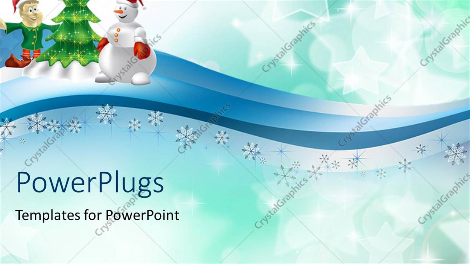 PowerPoint Template Displaying Holiday Depiction with Decorated Christmas Tree and Snow Flakes on Blue Background