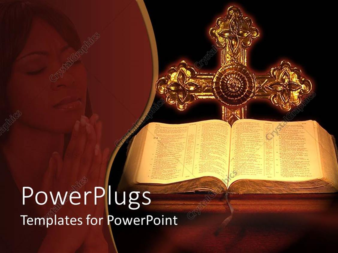 PowerPoint Template Displaying the Holy Bible and the Cross Along with a Lady Praying