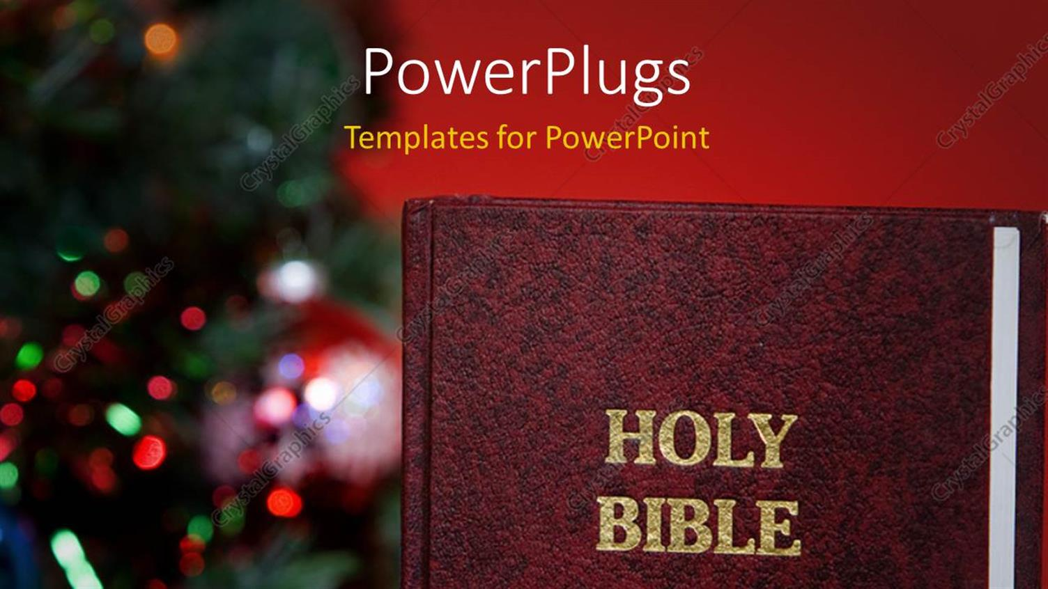 PowerPoint Template Displaying the Holy Bible with a Number of Lights in the Background