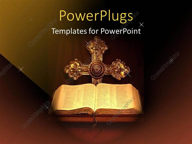 PowerPoint Template Displaying Holy Bible Opened with a Cross on a Dark Background