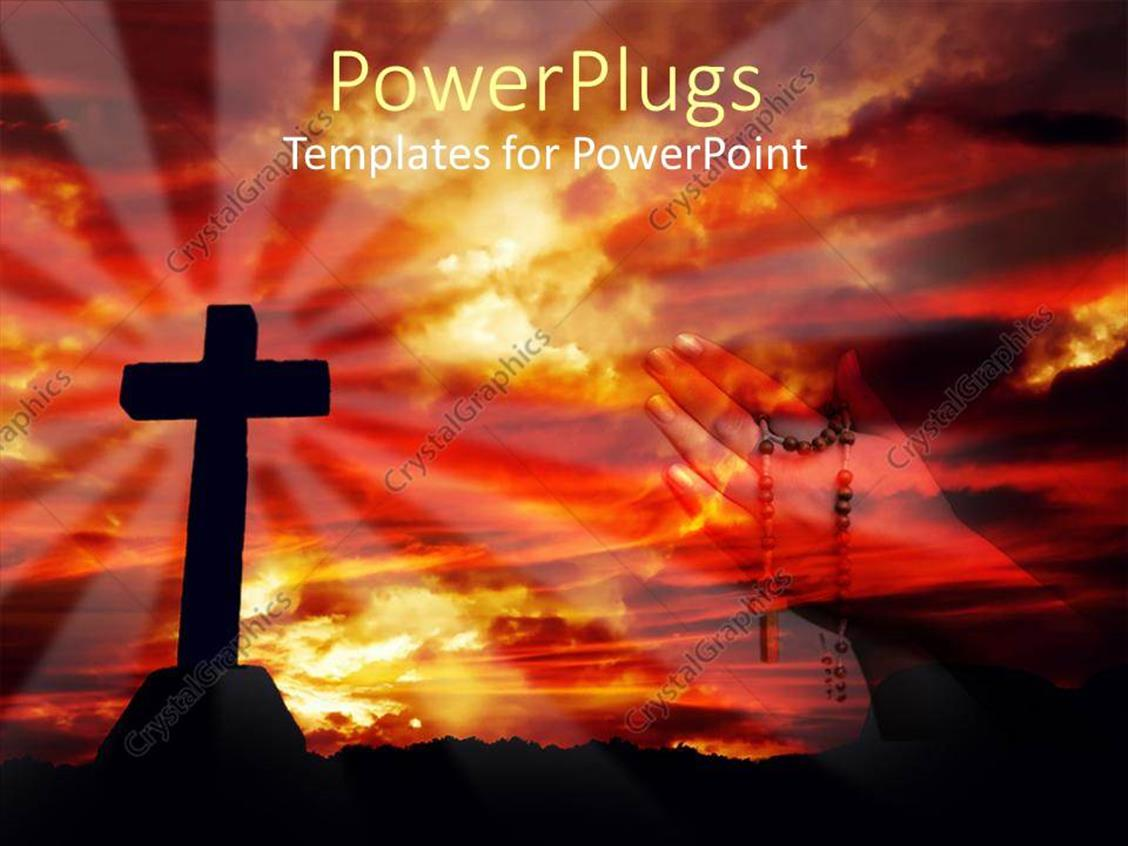 PowerPoint Template Displaying a Holy Cross with Hands Praying in the Background