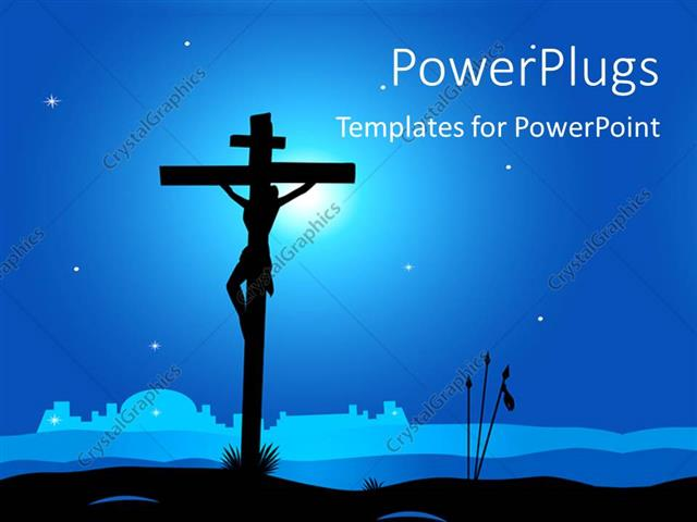 PowerPoint Template Displaying a Holy Cross and the Jesus Being Crucified