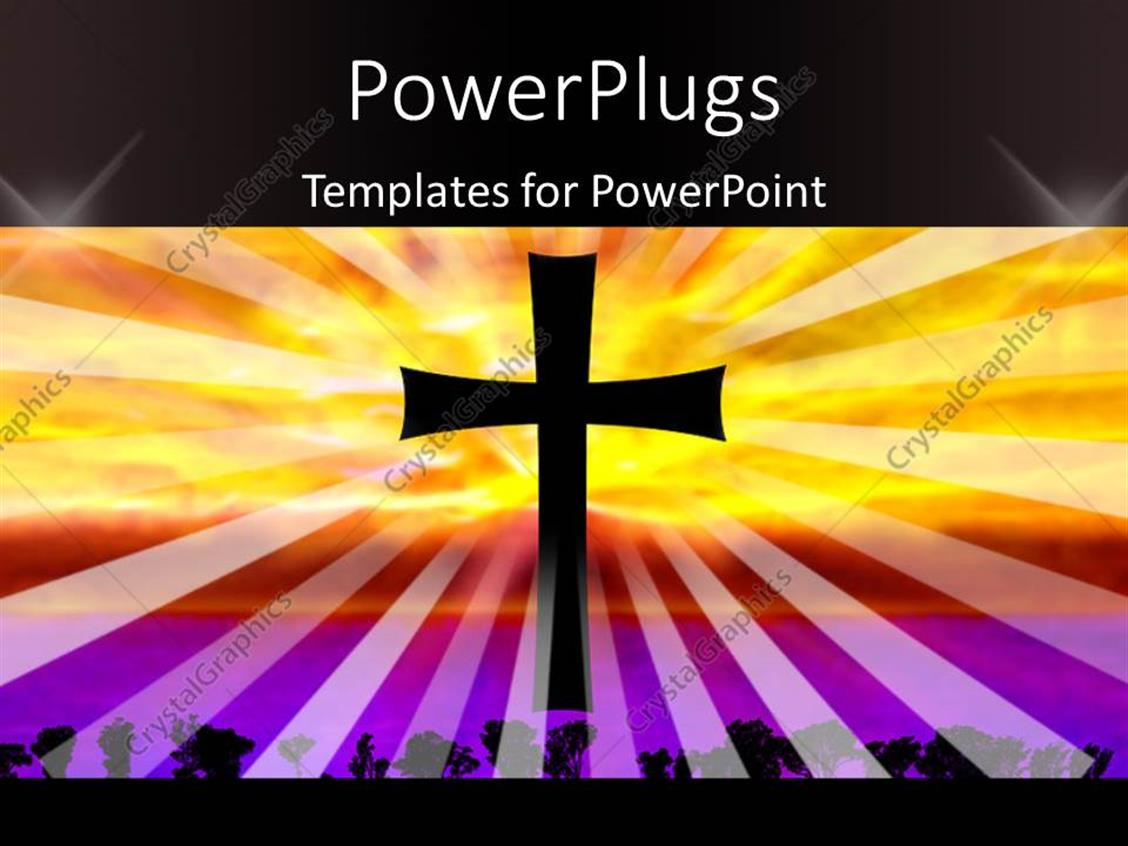 PowerPoint Template Displaying a Holy Cross with a Multicolor Background