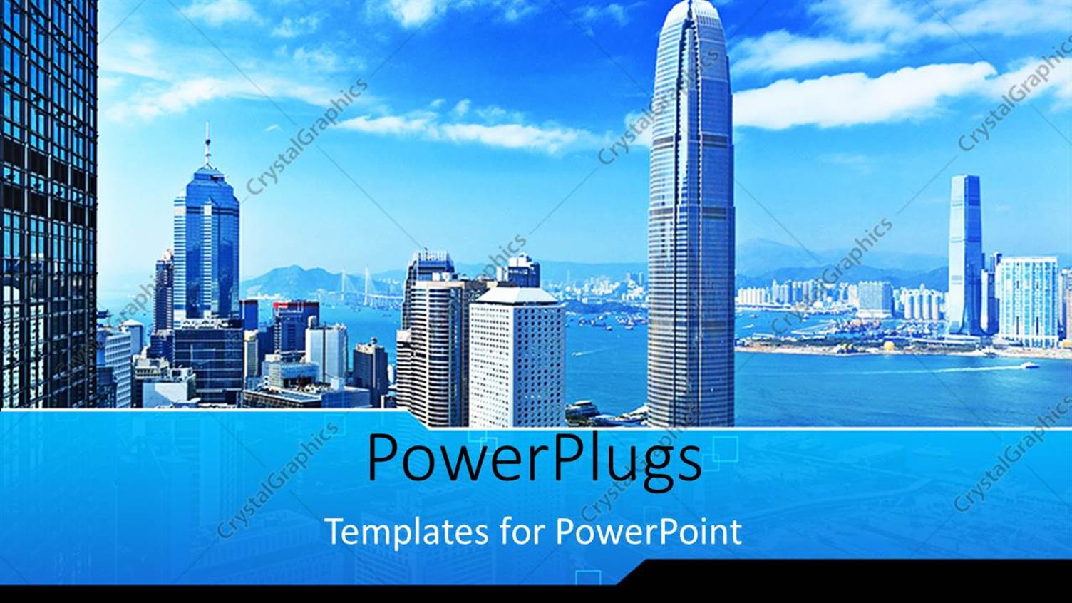 PowerPoint Template Displaying Landscape View of Mega City with Skyscrapers
