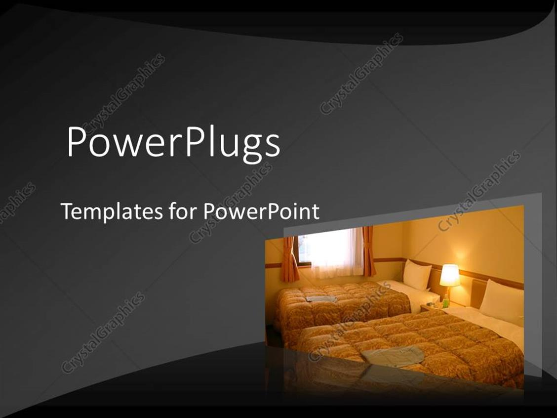 PowerPoint Template Displaying Hotel Room in Subdued Colors with Sun Shining Through Window