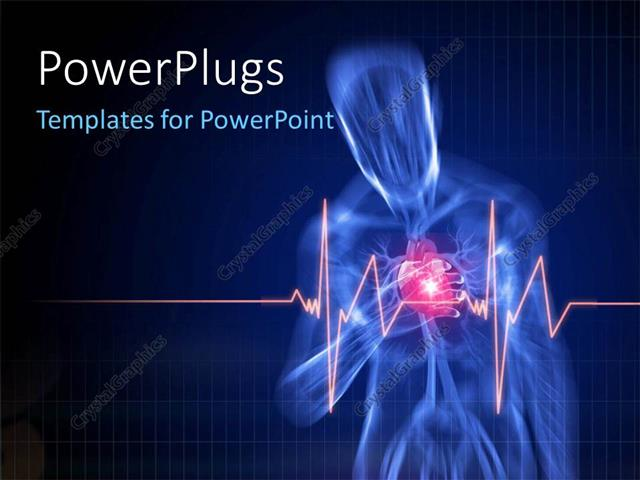 Powerpoint Template Human Anatomy With Pain In Heart With Heartbeat
