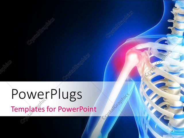 Powerpoint template human anatomy showing pain in shoulder with powerpoint template displaying human anatomy showing pain in shoulder with black and blue color toneelgroepblik Images