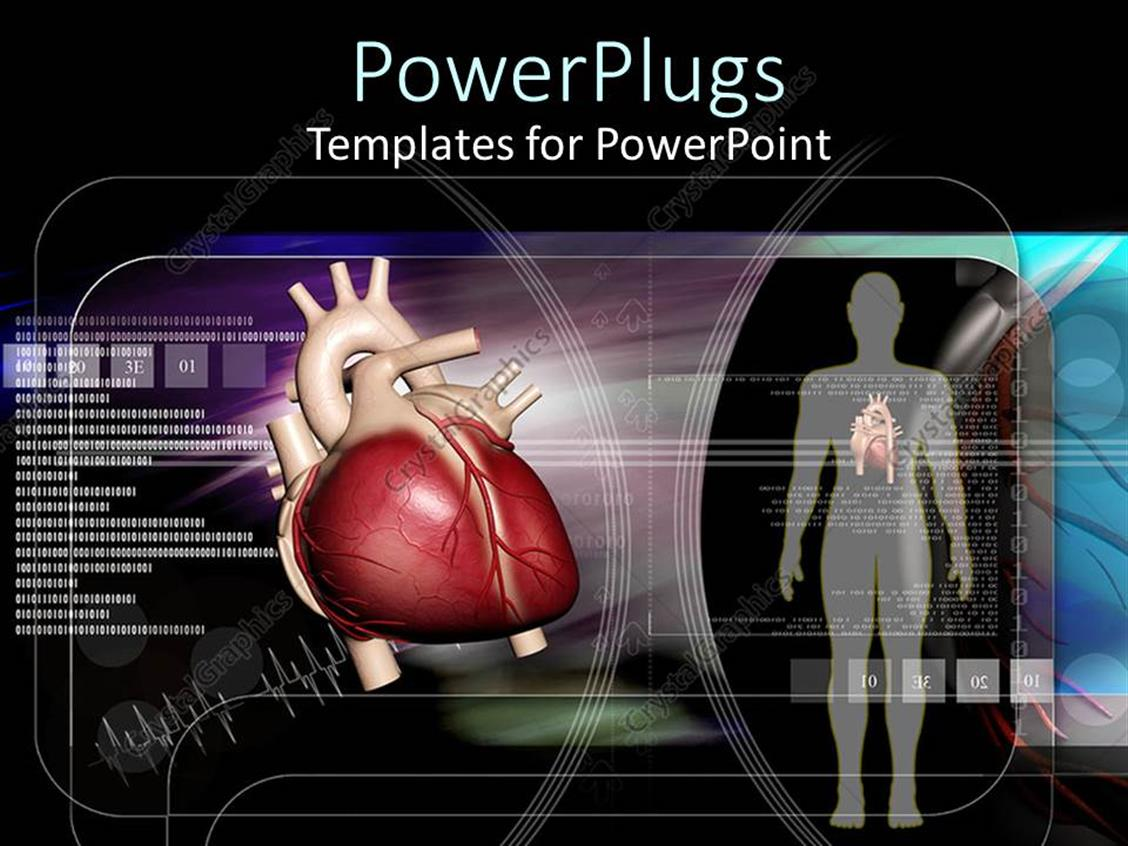 PowerPoint Template Displaying Human Body and Heart on Black Scientific Looking Background