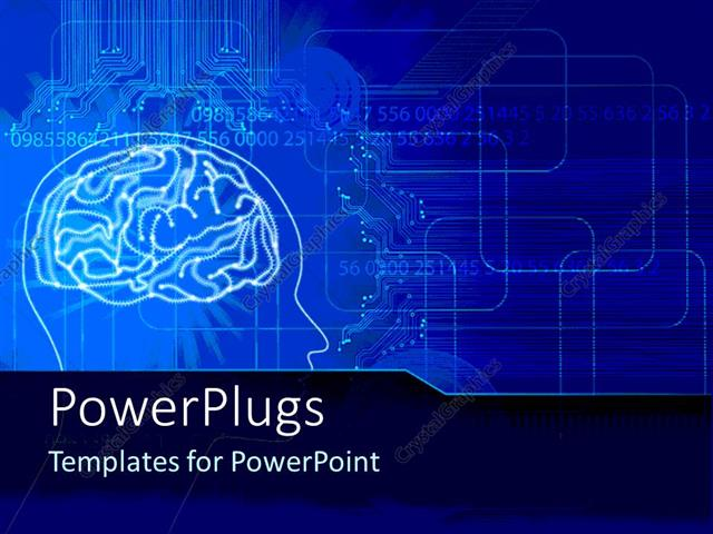 Powerpoint Template A Human Brain With Bluish Background
