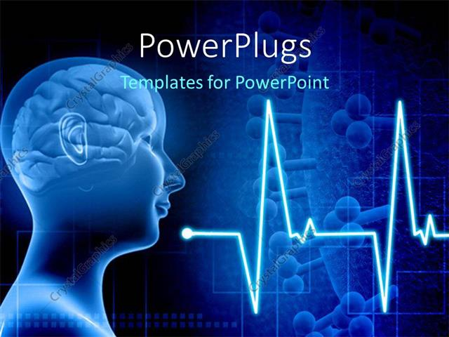 PowerPoint Template Displaying Human Brain in a Human Body with ECG Waves and Cells in Background