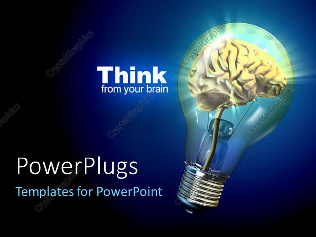 Powerpoint template human brain inside a glowing electrical bulb powerpoint template displaying human brain inside a glowing electrical bulb thinking concept toneelgroepblik Choice Image