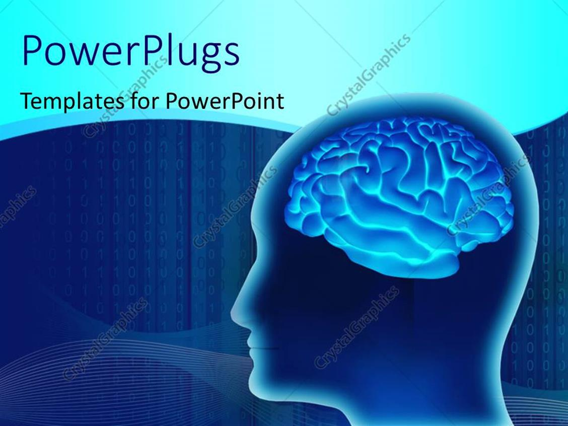 PowerPoint Template Displaying Human Brain Inside a Head Made in 3D Over a Digital Blue Background