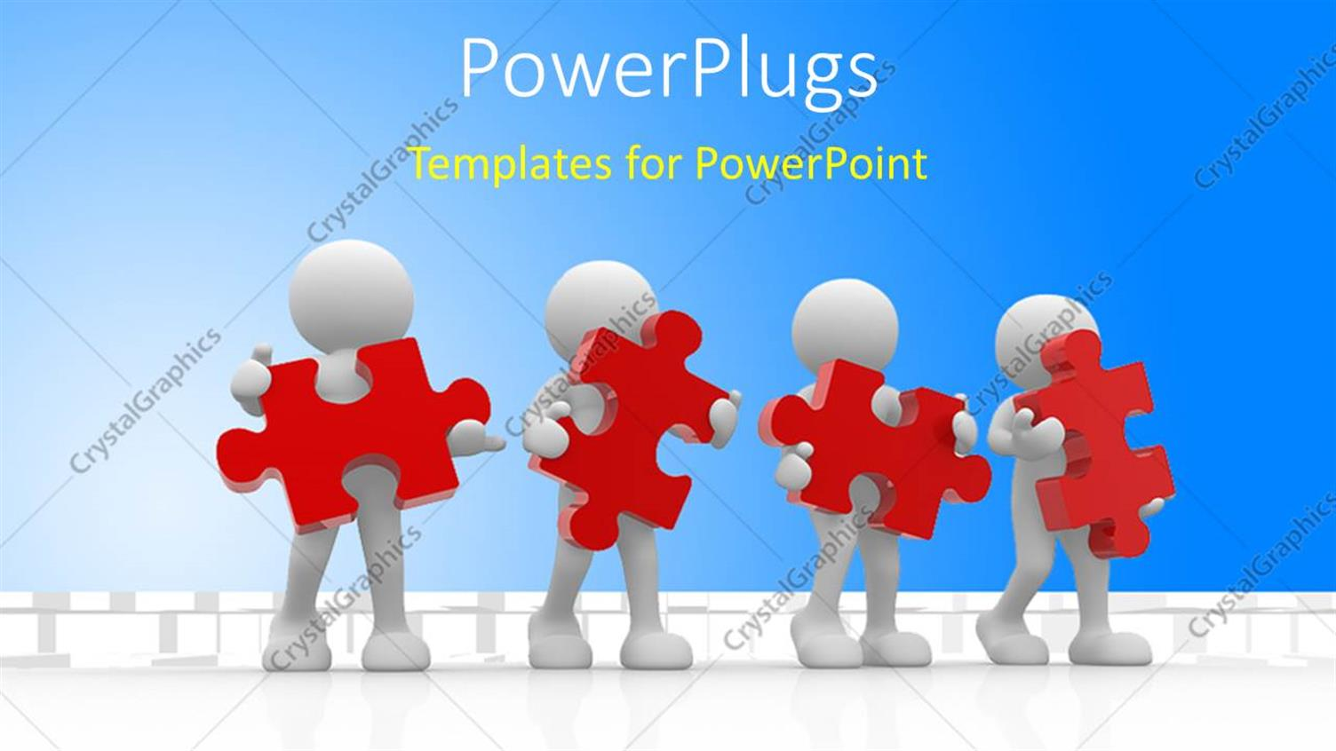 PowerPoint Template Displaying Human Character Holding Red Puzzles with Blue Color