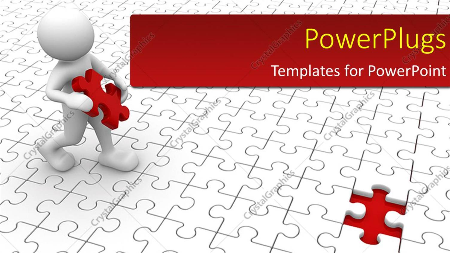 PowerPoint Template Displaying Human Character and Missing Puzzle Piece with Puzzle Flooring