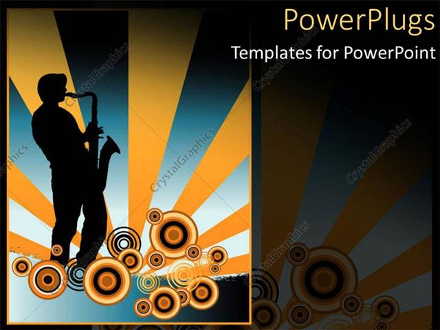 Powerpoint template a human character playing a saxophone with a powerpoint template displaying a human character playing a saxophone with a music theme toneelgroepblik Images