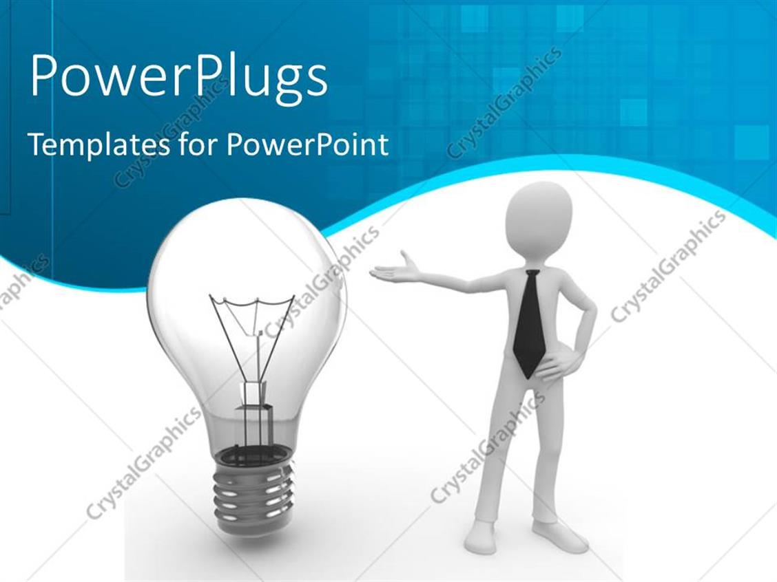 PowerPoint Template Displaying Human Character Pointing Towards Bulb Depicting Innovation with Blue and White Curved Background