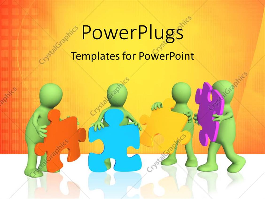 PowerPoint Template Displaying Human Characters Holding Colored Puzzle Pieces