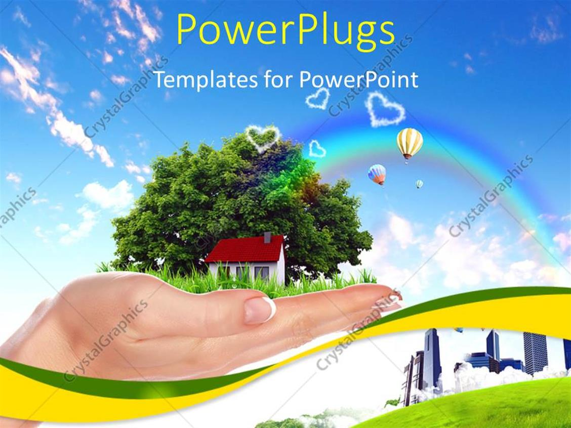 PowerPoint Template Displaying Human Hand Holding Houses Surrounded by Nature Against Blue Sky and Rainbow