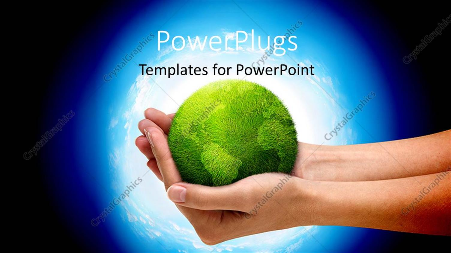 PowerPoint Template Displaying a Pair of Hands Holding the Green Globe