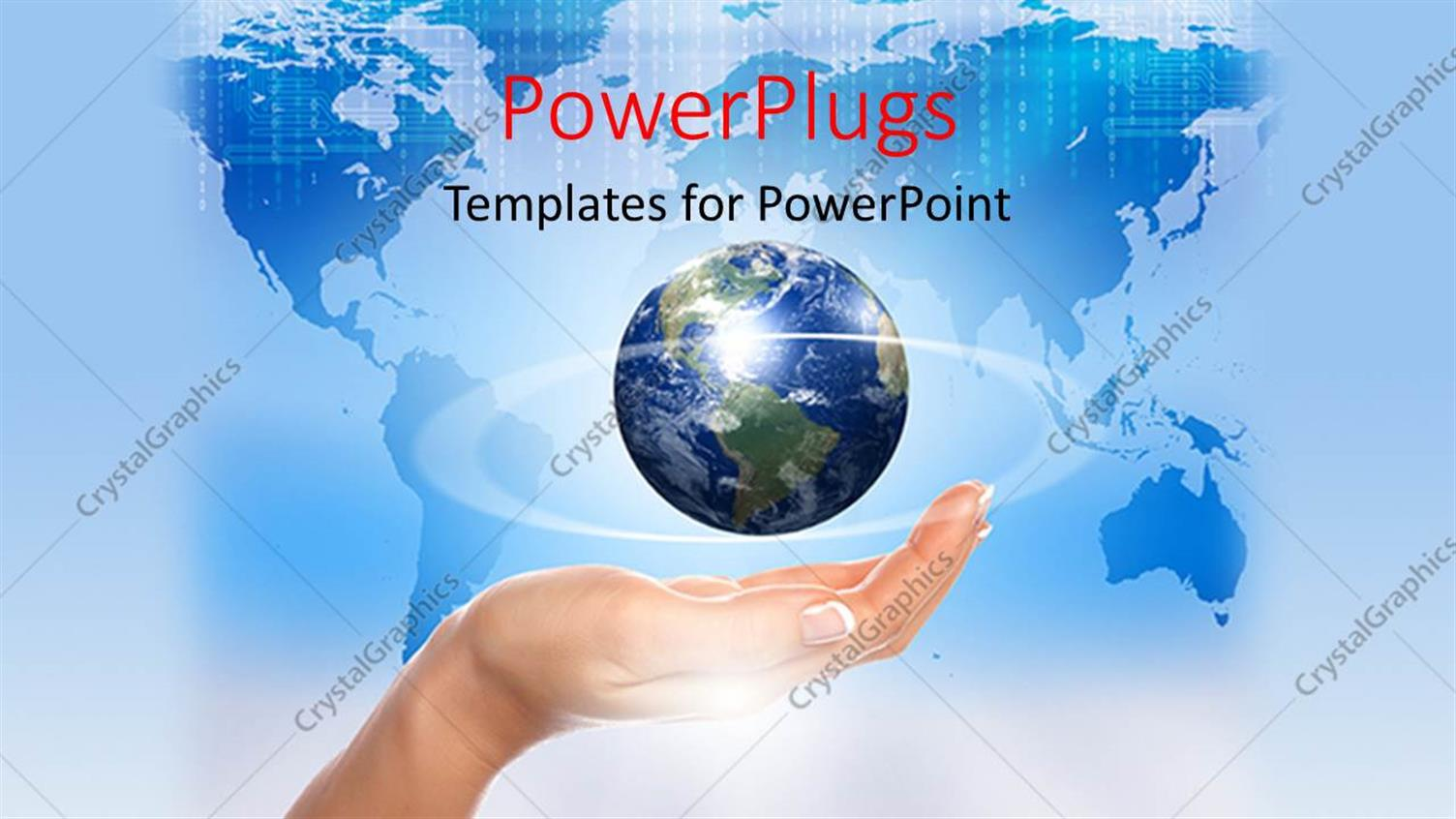 PowerPoint Template Displaying a Hand with a Globe and Map in the Background