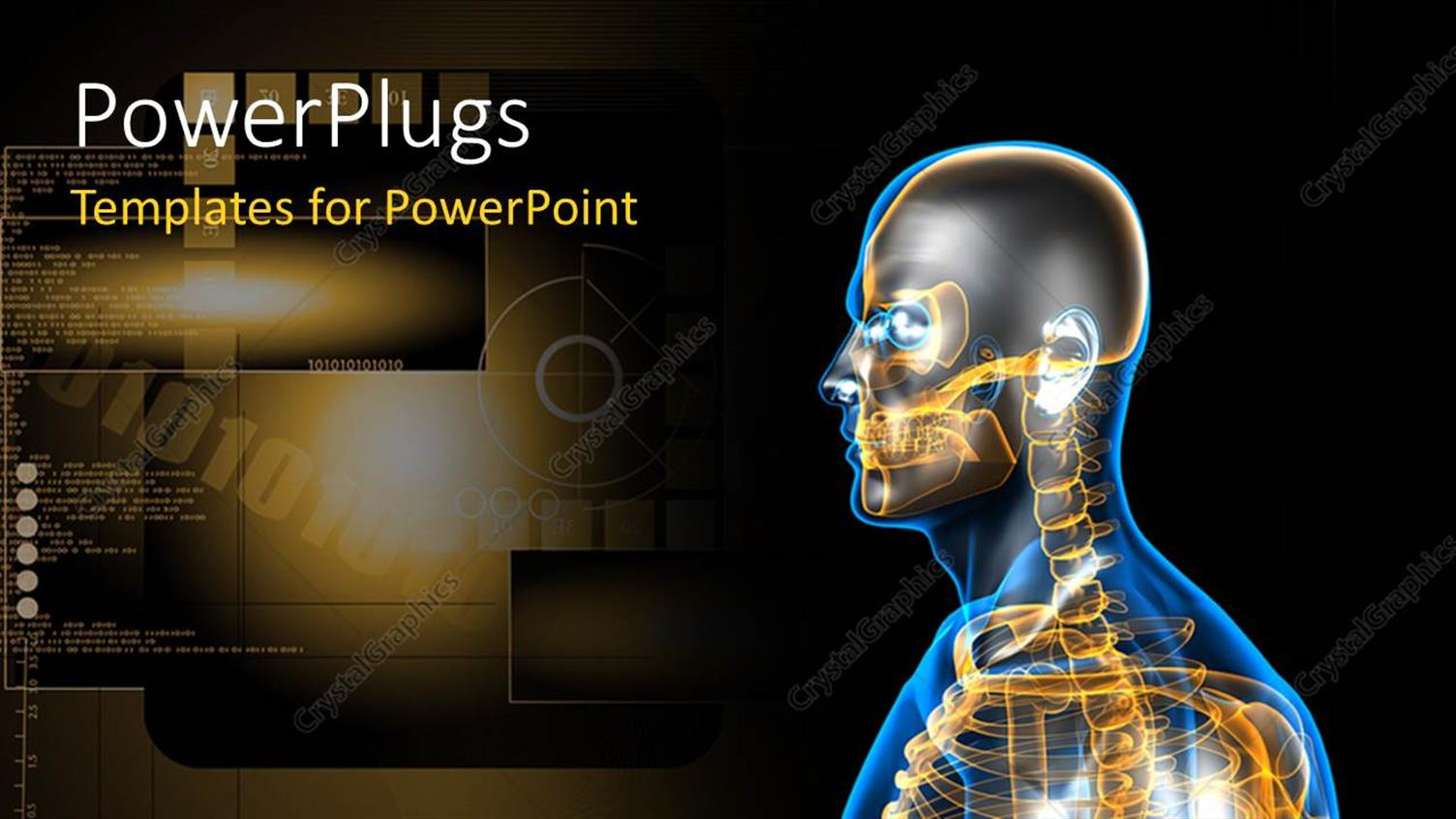 PowerPoint Template Displaying a Human Skeleton with a Brownish Background