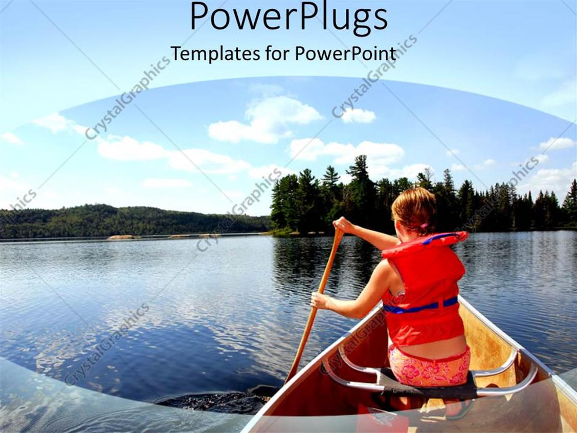 PowerPoint Template Displaying Human Wearing a Life Jacket on a Boat Rowing