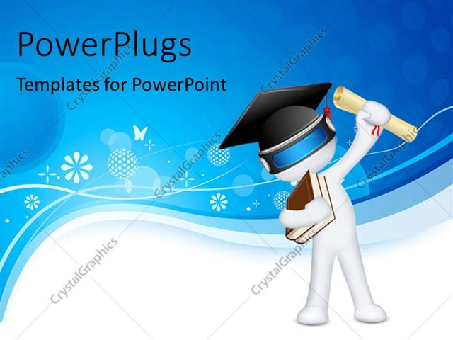 PowerPoint Template Displaying Humanoid with Books, Graduation Degree and Graduation Hat Over White and Blue Background